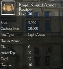 Royal Knight Armor Rec