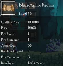 Blaze Armor Rec
