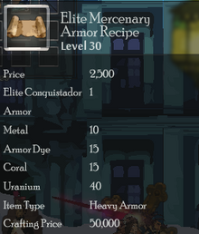 Elite Mercenary Armor Rec