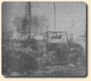 Another German car destroyed near the regimental headquarters