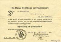 Urkunde Ehrenkreuz fuer Frontkaempfer