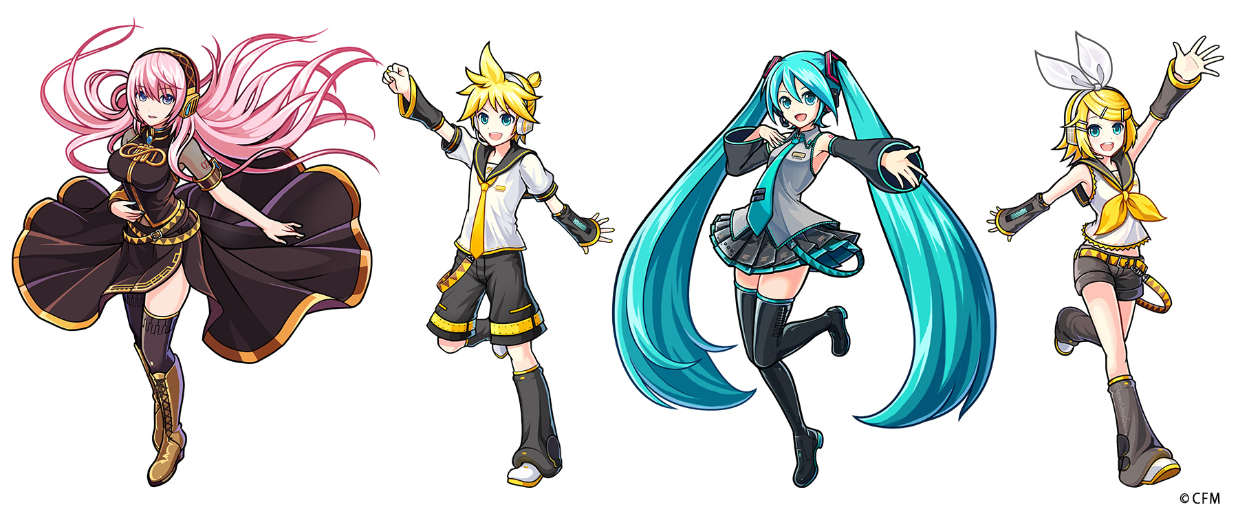image - gear-megurine luka, kagamine len, hatsune miku, and kagamine