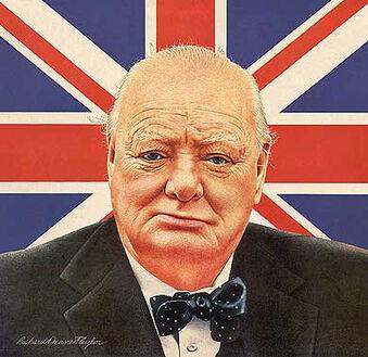 Winston Churchill British bulldog portrait