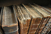 Photograph of a row of ancient books, some with disintegrating leather covers