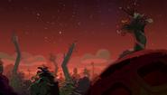 Vista nocturna de la jungla