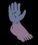 Cluster pie y mano