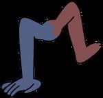 Mano azul y pie rojo cluster
