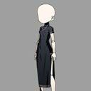 롱 실크 드레스(흑)