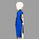 롱 실크 드레스(청)