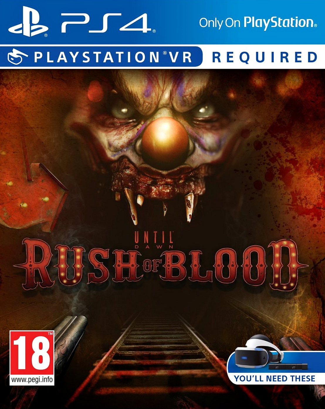 Kết quả hình ảnh cho Until Dawn Rush of Blood VR cover ps4