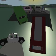 Vehículos destruídos al otro lado del puente