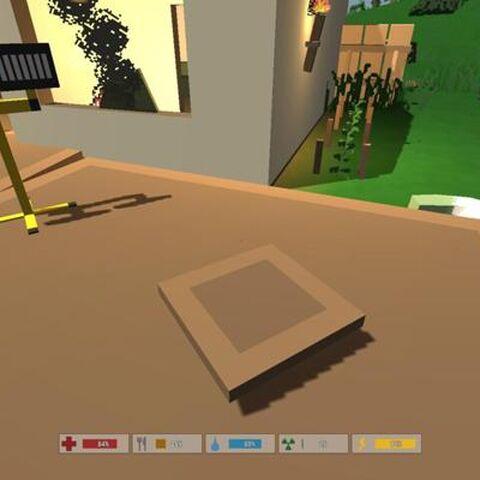 Placa de madera, en el juego.