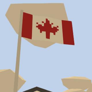 Bandera a la entrada de la granja