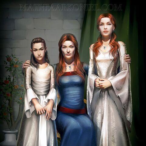 Catelyn cu fiicele sale