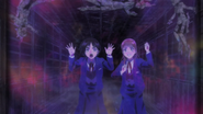 Asako and Mayuko trapped in the Stone Eater barrier