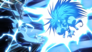 Tora hitting the Oni with his electrical power