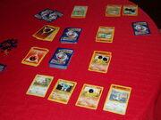 Pokemon card game in progress