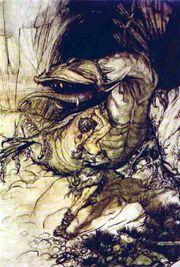Sigurd kills Fafnir by Rackham
