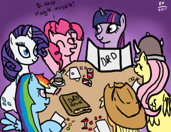 22426 - applejack artist-noisemaker111 book D&D dexterous hooves dungeons and dragons fluttershy hat pinkie pie rainbow dash rarity snacks twilight sparkle viking