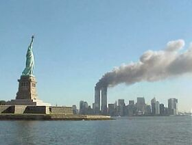 National Park Service 9-11 Statue of Liberty and WTC fire