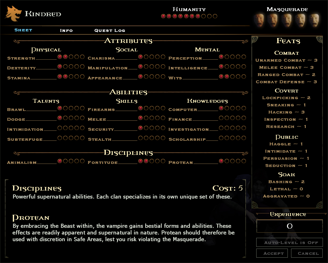 Character Sheet | Vampire: The Masquerade – Bloodlines Wiki | FANDOM