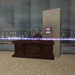 The newscaster's room in the skybox of Santa Monica