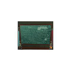 Fevered writing on a chalkboard in the <a href=