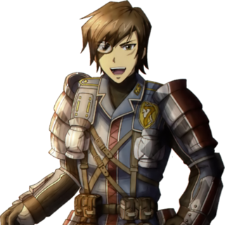 Vyse's appearance in <i>Valkyria Chronicles</i>.