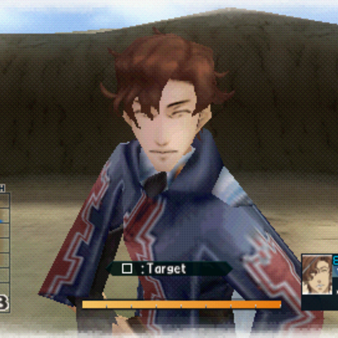 In-game screenshot of Hubert in <i>Valkyria Chronicles 2</i>.