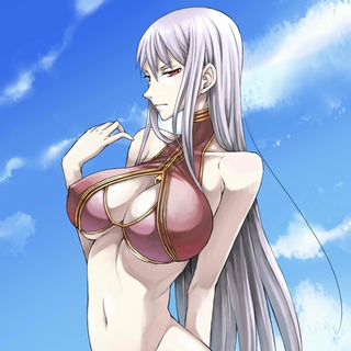 Selvaria's red swimsuit in <i>Chaos Heroes Online</i>.