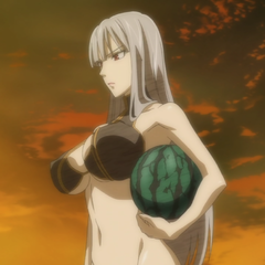Selvaria wearing a swimsuit.