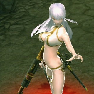 In-game screenshot of white swimsuit in <i>Chaos Heroes Online</i>.