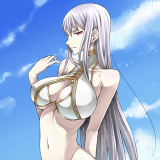 Selvaria's white swimsuit in <i>Chaos Heroes Online</i>.