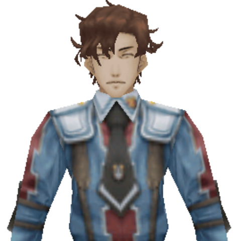 Hubert's CG appearance in <i>Valkyria Chronicles 2</i>.