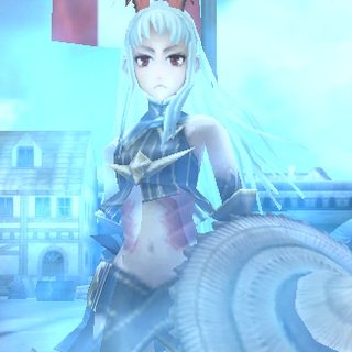Aliasse's <i>Valkyria</i> stance in Valkyria Chronicles Duel.