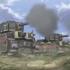 Two Calamity Raven Medium Tanks firing on Squad 422's position.