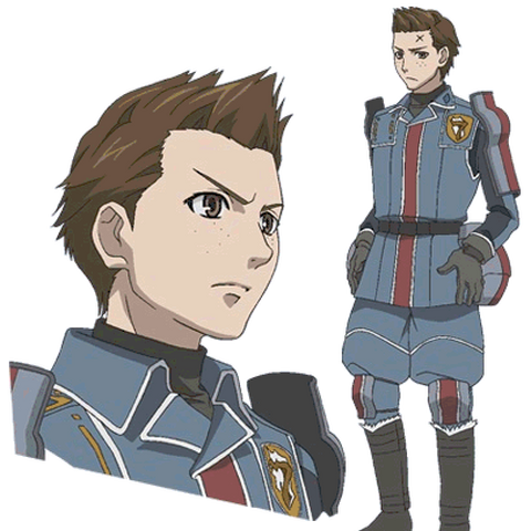 Oscar's appearance in the Valkyria Chronicles anime.