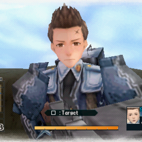 In-game screenshot of Oscar in Valkyria Chronicles 2.