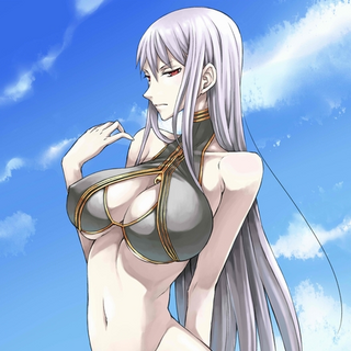 Selvaria's black swimsuit in <i>Chaos Heroes Online</i>.