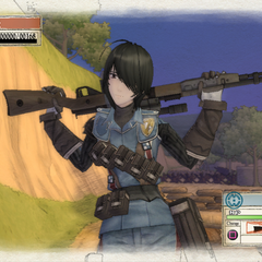 Marina's victory pose in <i>Valkyria Chronicles</i>.