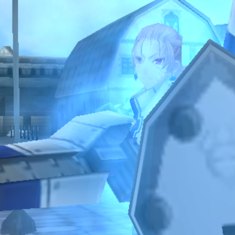 Juliana's <i>Valkyria</i> stance in Valkyria Chronicles Duel.