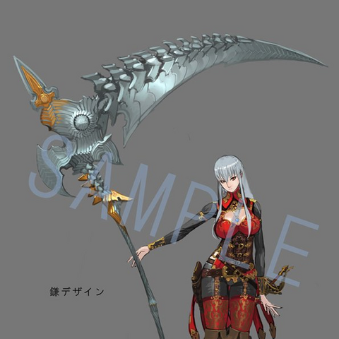 Concept artwork of Brunhilde and her scythe.