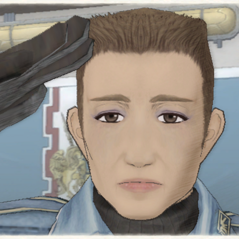 Jann's appearance in <i>Valkyria Chronicles</i>.