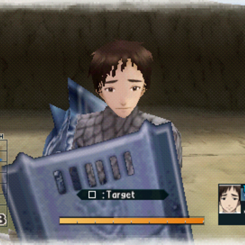 In-game screenshot of Morris in Valkyria Chronicles 2.