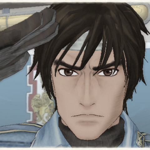 Hector's appearance in Valkyria Chronicles.