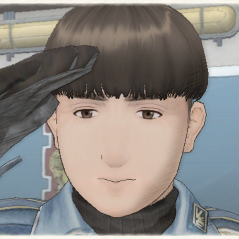 Kevin's appearance in Valkyria Chronicles.
