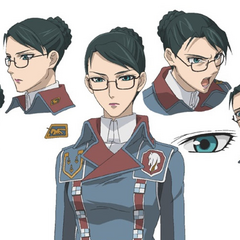 Design and facial expressions boards of Eleanor's appearance in the <i>Valkyria Chronicles Anime</i>.
