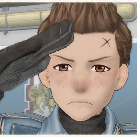 Oscar's appearance in Valkyria Chronicles.