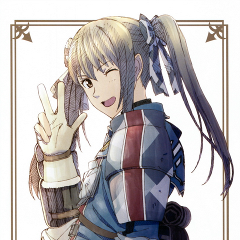 Promotional artwork of Edy from the <i>Valkyria Chronicles 3: Complete Artworks</i>.