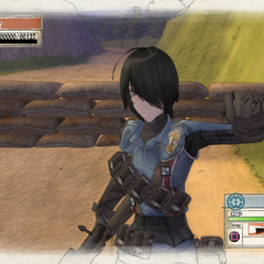 Marina's second victory pose in <i>Valkyria Chronicles</i>.